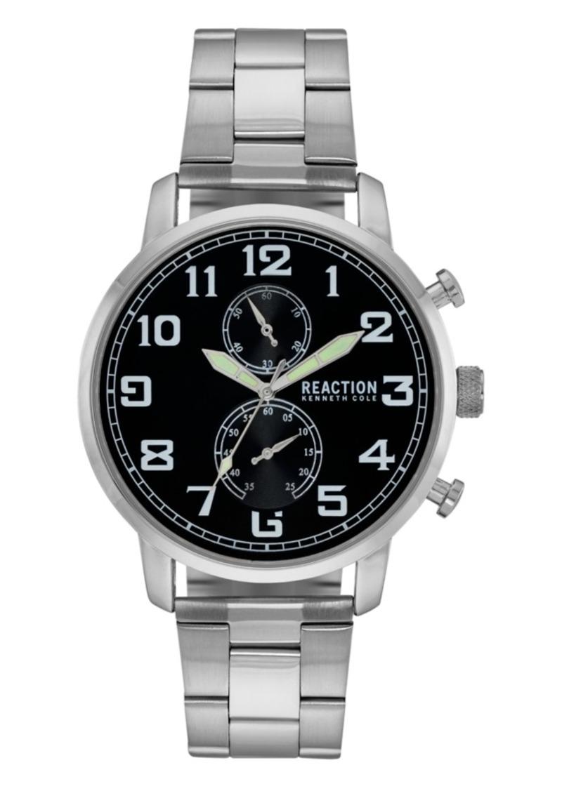 Kenneth Cole Reaction Men's Silver-Tone Metal Bracelet Watch, 46mm