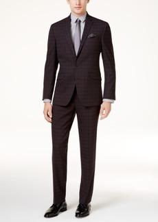 Kenneth Cole Reaction Men's Slim-Fit Black Plaid Sheen Ready Flex Suit