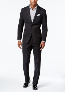 Kenneth Cole Reaction Men's Slim-Fit Black Tonal Striped Suit