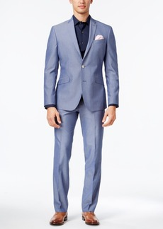 Kenneth Cole Reaction Men's Slim-Fit Light Blue Micro-Grid Suit