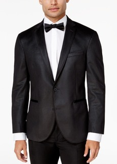 Kenneth Cole Reaction Men's Slim-Fit Charcoal Check Velvet Dinner Jacket