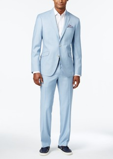 Kenneth Cole Reaction Men's Slim-Fit Icy Blue Micro-Grid Suit