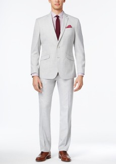 Kenneth Cole Reaction Men's Slim-Fit Light Gray Micro-Check Suit