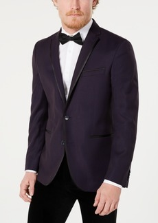 Kenneth Cole Reaction Men's Slim-Fit Stretch Dark Purple Geo Dot Evening Jacket