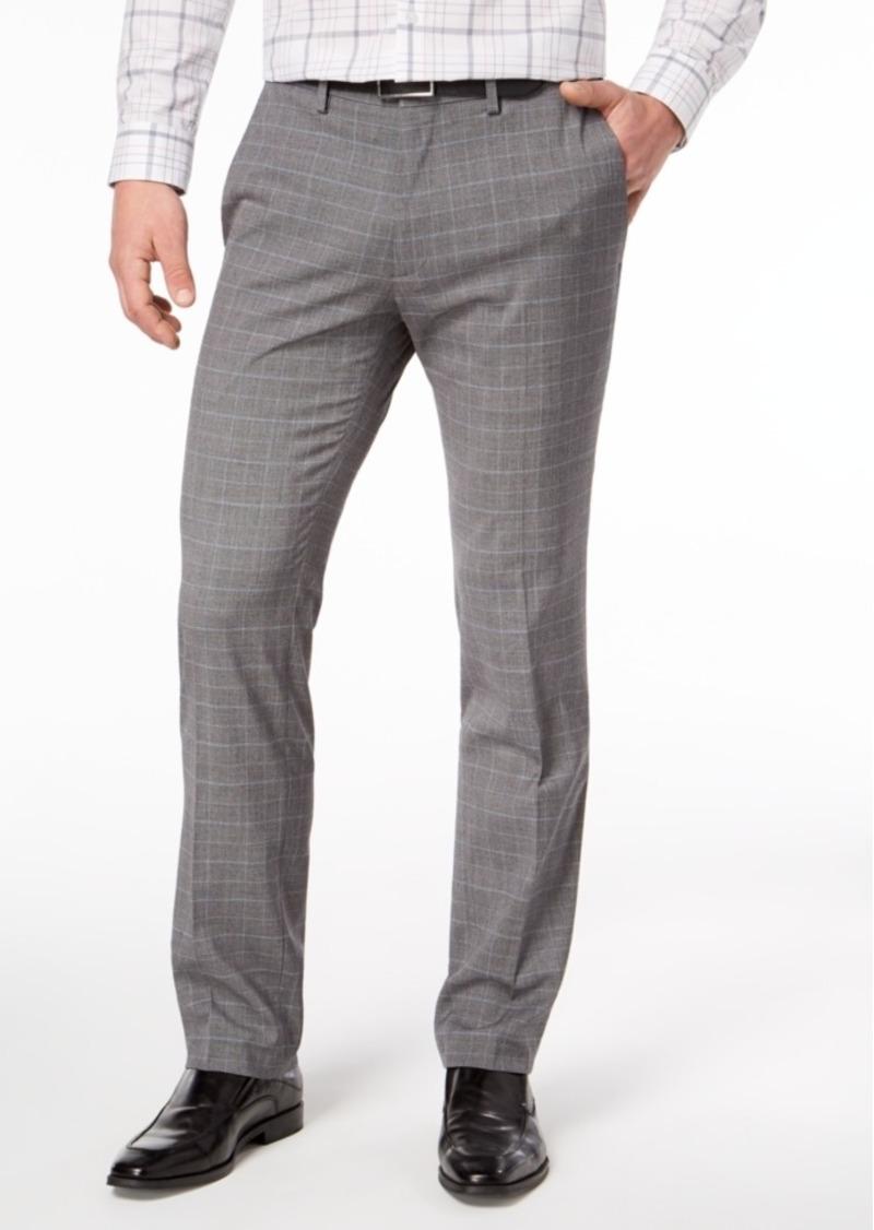 e42afff29f4d Kenneth Cole Reaction Men s Slim-Fit Stretch Gray Windowpane Dress Pants