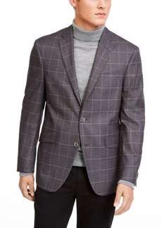 Kenneth Cole Reaction Men's Slim-Fit Stretch Gray Windowpane Sport Coat