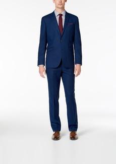 Kenneth Cole Reaction Men's Slim-Fit Techni-Cole Stretch Blue Tonal Grid Suit