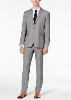 Kenneth Cole Reaction Men's Slim-Fit Techni-Cole Stretch Light Gray Box Plaid Suit