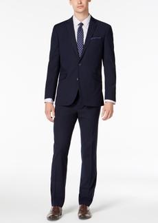 Kenneth Cole Reaction Men's Slim-Fit Techni-Cole Stretch Navy Plaid Suit