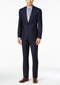 Kenneth Cole Reaction Men's Slim-Fit Tonal Dark Blue Shadow-Check Suit