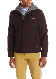 Kenneth Cole REACTION Men's Softshell Moto Jacket with Hood