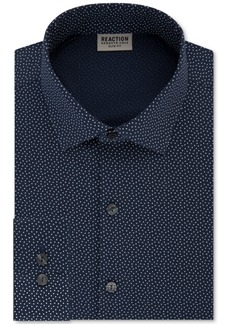 Kenneth Cole Reaction Men's Techni-Cole Slim-Fit Flex Collar Three-Way Stretch Performance Blue Print Dress Shirt