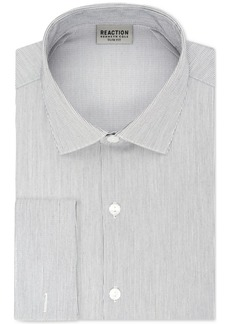 Kenneth Cole Reaction Men's Techni-Cole Slim-Fit Three-Way Stretch Performance Gray Stripe French Cuff Dress Shirt