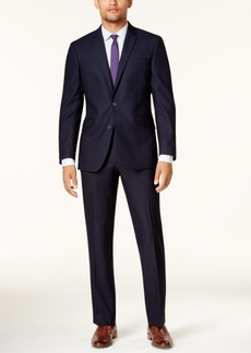 Kenneth Cole Reaction Men's Techni-Cole Navy Shadow Check Slim-Fit Suit
