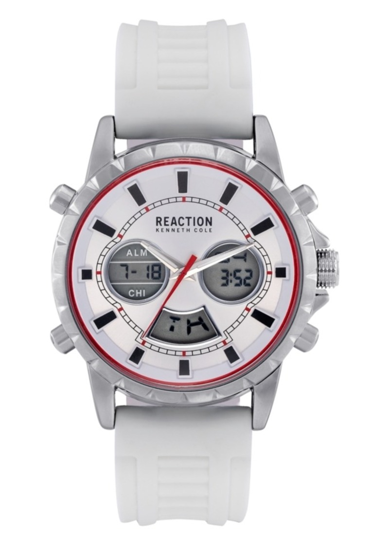 Kenneth Cole Reaction Men's White Silicon Strap Analog-Digital Watch, 46mm