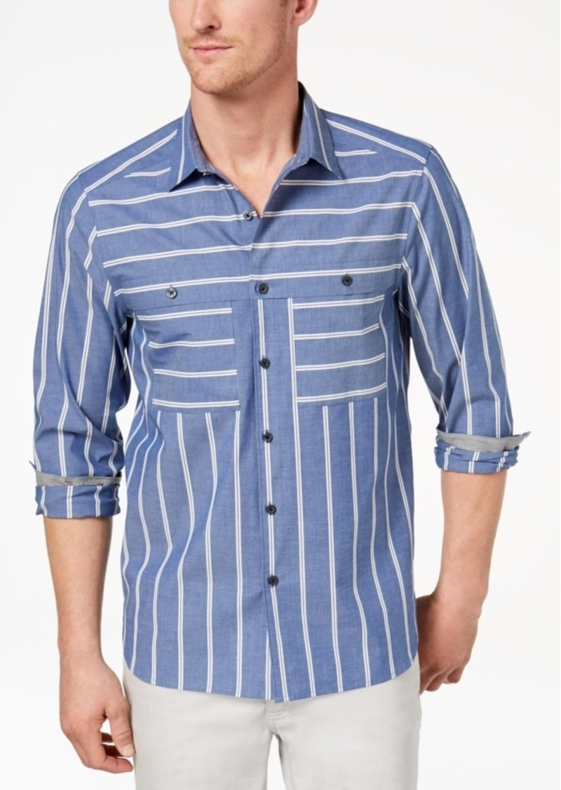 Kenneth Cole Kenneth Cole Reaction Mens Wide Striped Shirt Casual