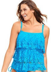 Kenneth Cole Reaction Plus Size Crochet Tiered Ruffle Tankini Top
