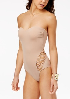 Kenneth Cole Reaction Sexy Solids Strappy-Side Tummy Control One-Piece Swimsuit Women's Swimsuit
