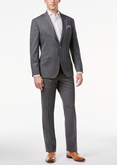 Kenneth Cole Reaction Techni-Cole Medium Gray Boxcheck Slim-Fit Suit