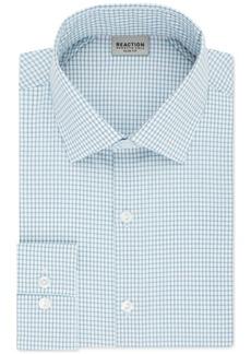 Kenneth Cole Reaction Techni-Cole Men's Slim-Fit Flex Collar Three-Way Stretch Performance Blue Check Dress Shirt