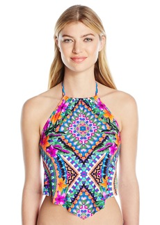 Kenneth Cole Reaction Women's Adventure Awaits Geometric V-Front Tankini with Removable Cups  M