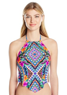 Kenneth Cole Reaction Women's Adventure Awaits Geometric V-Front Tankini with Removable Cups  XL