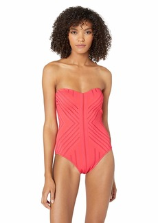 Kenneth Cole REACTION Women's Bandeau One Piece Swimsuit Watermelon//Upon The Shore
