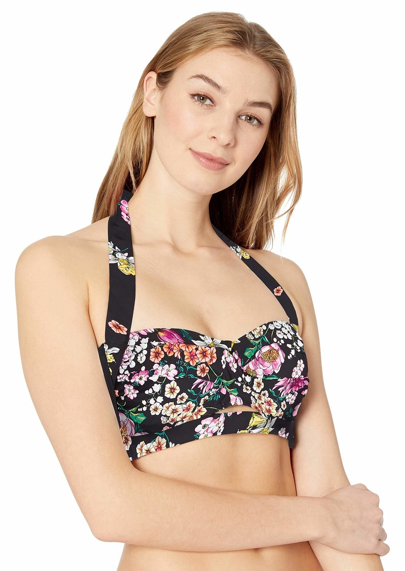 Kenneth Cole REACTION Women's Banded Halter Twist Front Bikni Swimsuit Top  Extra Large