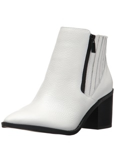 Kenneth Cole REACTION Women's CUE UP Block Heel Bootie Pointed Toe Embossed Ankle Boot   Medium US