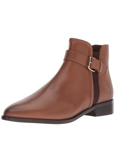 Kenneth Cole REACTION Women's Date 2 Nite Flat Ankle Bootie with Buckle Detail Boot tan  M US