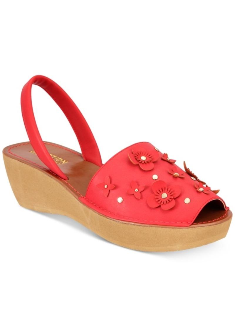 df4d2412d2 Kenneth Cole Reaction Women's Fine Glass Floral Wedge Sandals Women's Shoes