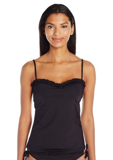 Kenneth Cole Reaction Women's for the Frill of It Ruffle Bandeau Tankini with Foam Cup Bra  L
