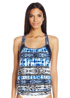 Kenneth Cole REACTION Women's Go Girl Aztec Layered Tankini with Criss Cross Back Straps  M