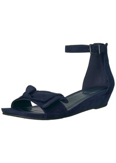 Kenneth Cole REACTION Women's Great Start Low Wedge Sandal Bow Detail Microsu