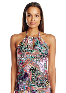 Kenneth Cole Reaction Women's Gypsy Gem Paisley Keyhole High Neck Tankini with Adjustable Ties  S