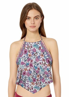 Kenneth Cole REACTION Women's High Neck Handerchief Tankini Swimsuit Top  L