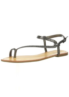 Kenneth Cole REACTION Women's Just Braid Flat Sandal with Toe Ring and Ankle Straps   M US