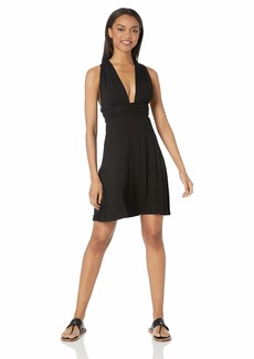 Kenneth Cole REACTION Women's Multi-Way Convertible Wrap Beach Cover Up Dress Black L