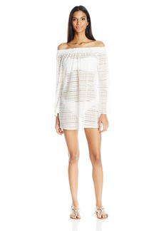 Kenneth Cole REACTION Women's Off The Shoulder Long Sleeve Crochet Dress Cover up  L