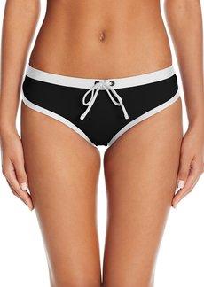 Kenneth Cole REACTION Women's On The Edge Cheeky Boyshort Bikini Bottom With Drawstring Waist  XL