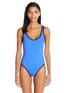 f90e30d78bc46d Kenneth Cole REACTION Women's On The Edge High-Leg One Piece Swimsuit