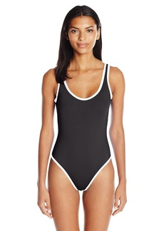 Kenneth Cole Reaction Women's on the Edge High-Leg One Piece Swimsuit  L