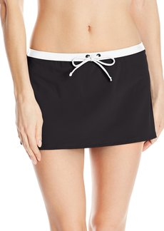 Kenneth Cole Reaction Women's on the Edge Skirted Bikini Bottom with Adjustable Drawstring Waist  L