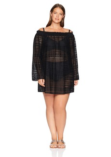 Kenneth Cole REACTION Women's Plus Size Bell Sleeve Smocked Neckline Cover Up Dress