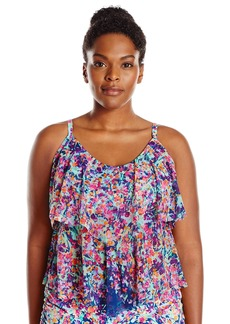 Kenneth Cole REACTION Women's Plus-Size Don't Mesh with Me Tiered Tankini