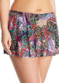 Kenneth Cole Reaction Women's Plus Size Gypsy Gem Paisley Flyaway Skirted Bikini Bottom  2X