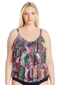 Kenneth Cole REACTION Women's Plus-Size Gypsy Gem Paisley Tripled Tiered Tankini