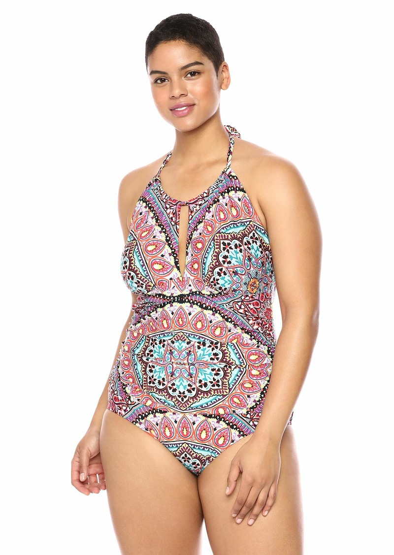 Kenneth Cole REACTION Women's Plus-Size High Neck Keyhole Halter One Piece Swimsuit Pink Siren