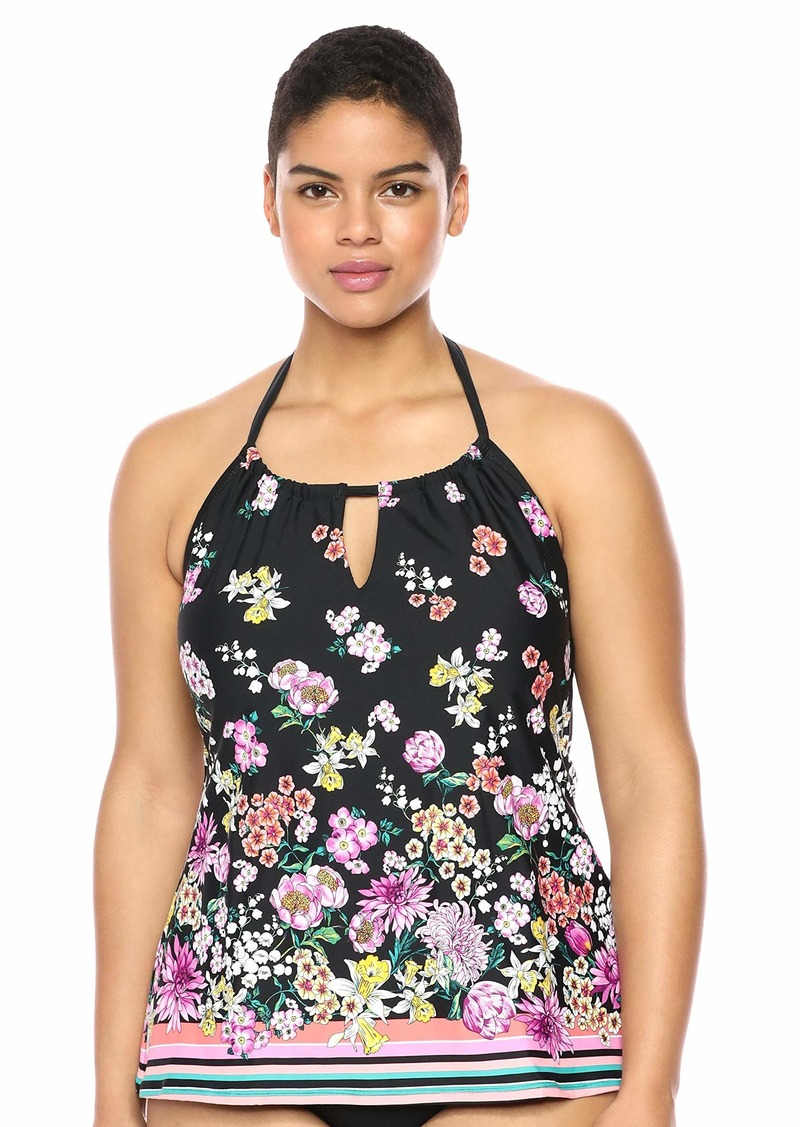 Kenneth Cole REACTION Women's Plus Size High Neck Keyhole Halter Tankini Swimsuit Top
