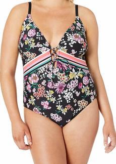 Kenneth Cole REACTION Women's Plus Size Lace Front One Piece Swimsuit